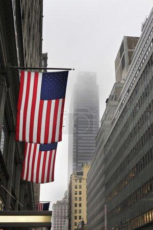 Photo pour Drapeau grunge aux États-Unis dans les rues de New-York - image libre de droit