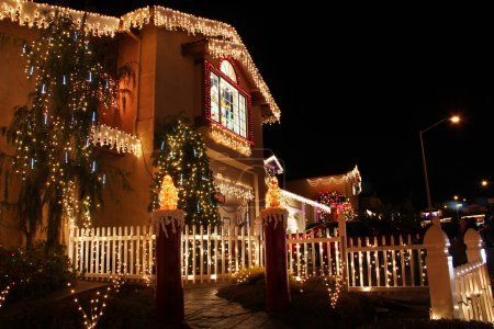 Decorated house with christmas lights