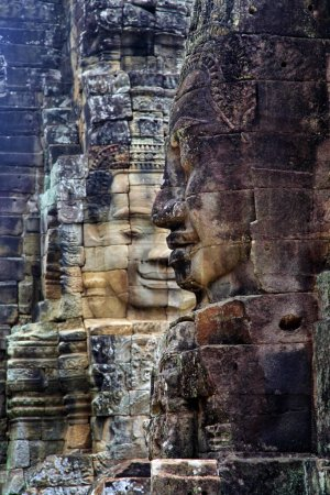 Photo for Stone murals and sculptures in Bayon Temple of Angkor Thom. Cambodia - Royalty Free Image