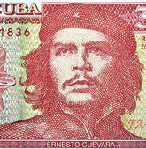 Detail of Che Guevara on a Vintage 3 Pesos banknote from Cuba