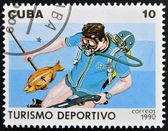 Známka vytištěna na Kubě věnované sportovní turistiky, ukazuje spearfishing