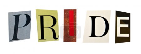 Pride formed with magazine letters on a white background