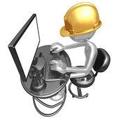 Stavební dělník v počítači