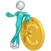 3D znak doktor s euro mince