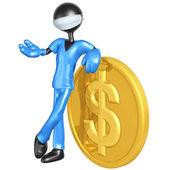 3D znak doktor s mince dolaru