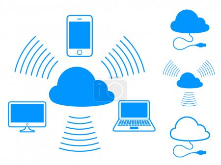 Illustration for Set of cloud computing icons showing connectivity between devices and storage in a centralised computing hub - Royalty Free Image