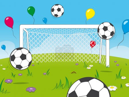 Cartoon goalposts with balloons and soccer balls