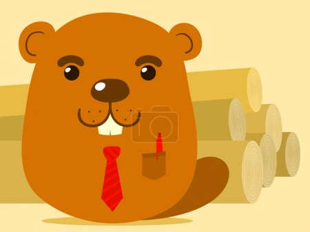 Cute cartoon beaver salesman