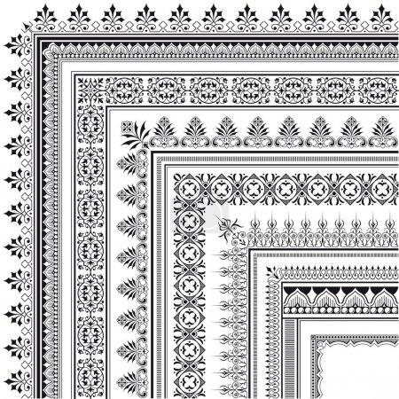 Ornamental corner border made of multiple frames