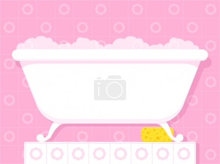 Illustration for Illustration of a stylish white vintage style bathtub on raised feet filled with soapy bubbles standing on a tiled plinth in a pretty pink bathroom - Royalty Free Image