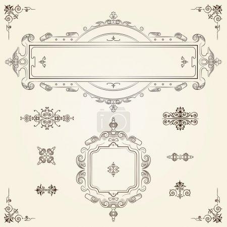 Ornamental vintage rectangular border frames