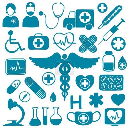 Illustration pour Icônes médicales bleues sur blanc avec symboles de soins de santé : tubes, médicaments, seringues, ambulance, médecins, microscope, ECG, stéthoscope, personnes handicapées - image libre de droit