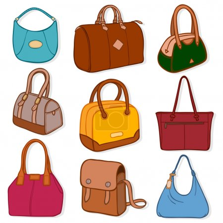 Latest fashion handbags and purses, on white