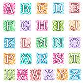Foliate and floral alphabet letters set