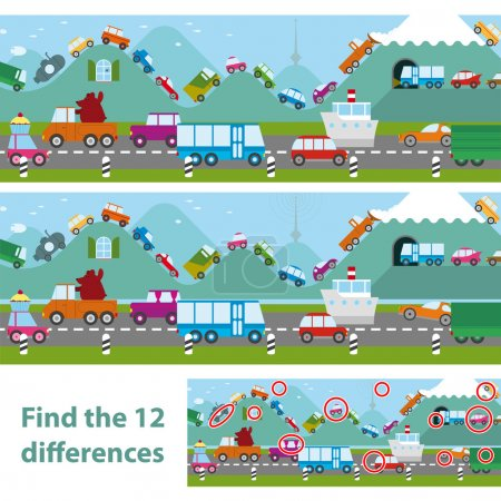 Educational kids puzzle with transport