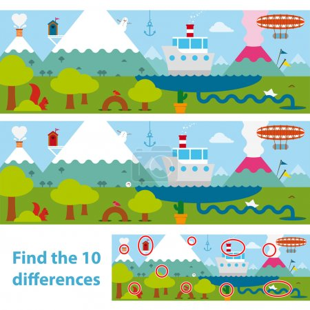 Kids puzzle of a lake and mountains difference