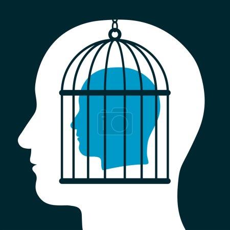 """Illustration pour Illustration conceptuelle d'une tête de """"cage"""" émanant d'une silhouette tête ci-dessous montrant un prisonnier avec le manque de liberté d'expression, esprit, expression, personnalité et idées - image libre de droit"""