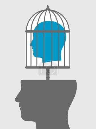 """Illustration pour Illustration conceptuelle d'une tête de """"cage"""" émanant d'une silhouette tête ci-dessous montrant un prisonnier avec le manque de liberté d'expression, expression, personnalité et idées - image libre de droit"""