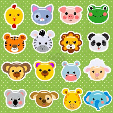 Illustration for Cute vector animal faces sticker collection - Royalty Free Image