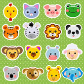 Cute vector animal faces sticker collection