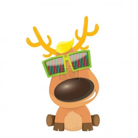 Vector cartoon Christmas reindeer character