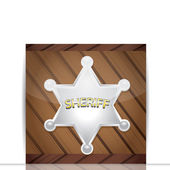 Vector silver Sheriff's badge on a wooden background