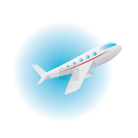 Vector airplane icon. cartoon plane in blue sky