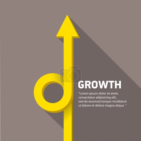 Illustration for Vector flat Business graph and chart on grey background.vector golden grow up arrow. - Royalty Free Image