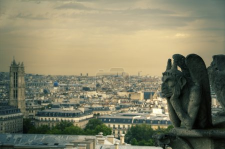 Gargoyle (chimera) on Notre Dame de Paris