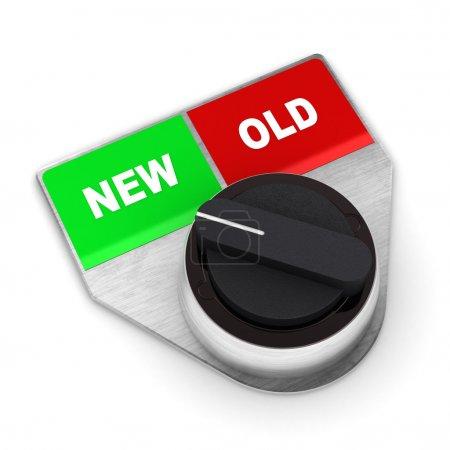 Photo pour Une 3d coloré rendu nouvelle vs ancienne illustration de commutateur de concept - image libre de droit