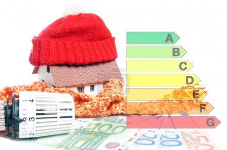 Photo pour Thermostat de radiateur avec billets et une petite maison - image libre de droit