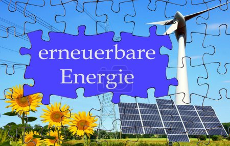 Photo for Puzzle with text box and the german words renewable energy - Royalty Free Image
