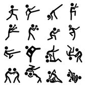 Simple Sport Pictogram Martial Arts Icon Collection Set Usefull For Sport Theme