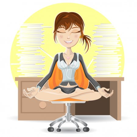 Illustration for Woman Meditation At The Office Calming Down In Busy Environment - Royalty Free Image