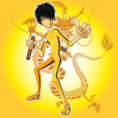 Kungfu Master Wearing Yellow Jumpsuit Playing Nunchucks With Dragon Tatoo