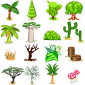 Various Green Rainforest Dessert Swamp Trees Vector Illustration Usefull For Game Or Graphic Background Element