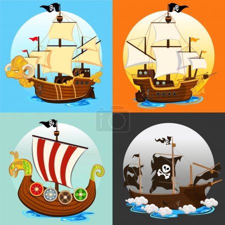 Illustration for An Illustration Of Various Pirate Ship , such as Viking Ship, Galleon, Ghost Ship - Royalty Free Image