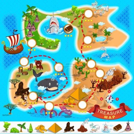 Illustration pour Divers emplacement exotique de Pirate Treasure Map File est Eps.10 (contiennent de la transparence ) - image libre de droit