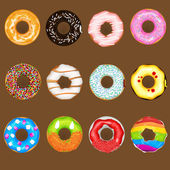 An Illustration Of Donuts with various topping Useful As Icon Illustration And Background For Food Theme
