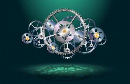 Illustration for Gears on a dark green background, vector illustration - Royalty Free Image