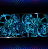 Gears on a dark blue background vector illustration