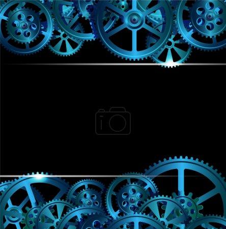 Illustration pour Engrenages sur fond vert foncé, illustration vectorielle - image libre de droit