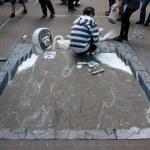 Street painting festival in St. Petersburg, Russia...