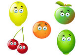 Cute and fun vector illustrations of 5 different cartoon fruit