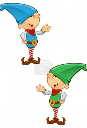 Illustration for Two different coloured vector illustrations of elves presenting. - Royalty Free Image