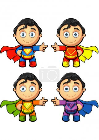 Illustration for A super man character in 4 different colours. EPS-10 - Royalty Free Image
