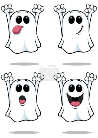 A cartoon ghost illustration with 4 different faci...