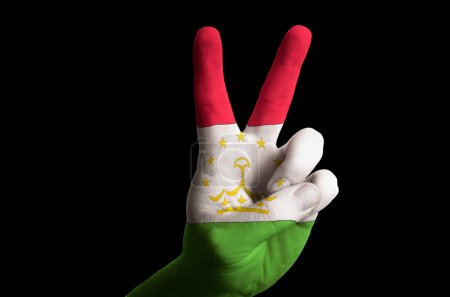 tajikistan national flag two finger up gesture for victory and w