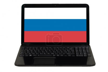 Photo pour Ordinateur portable avec le drapeau national de la Russie - image libre de droit