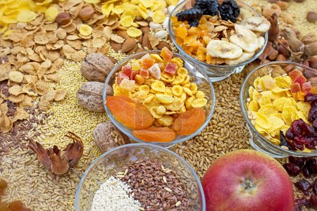 Candied, dried fruit, grains and cereals